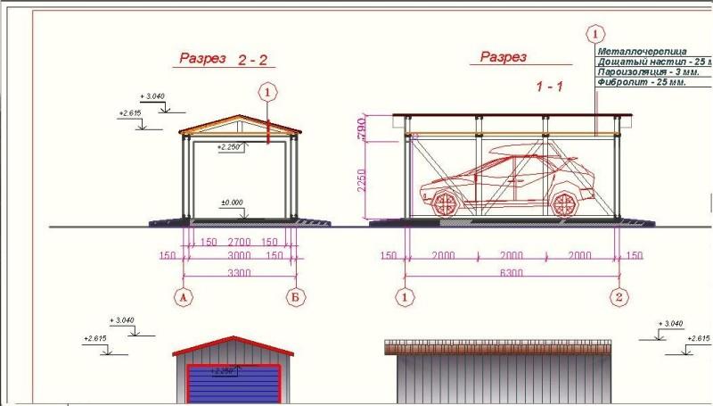 Пример чертежа металлического гаража
