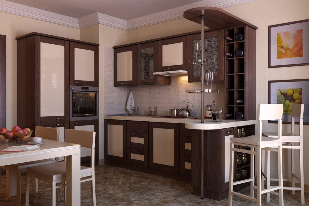 Кухня с барной стойкой и столовым столом