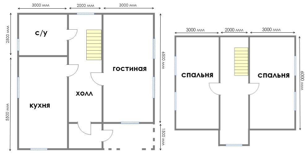 Фото 13: План дома 8х8 с мансардой