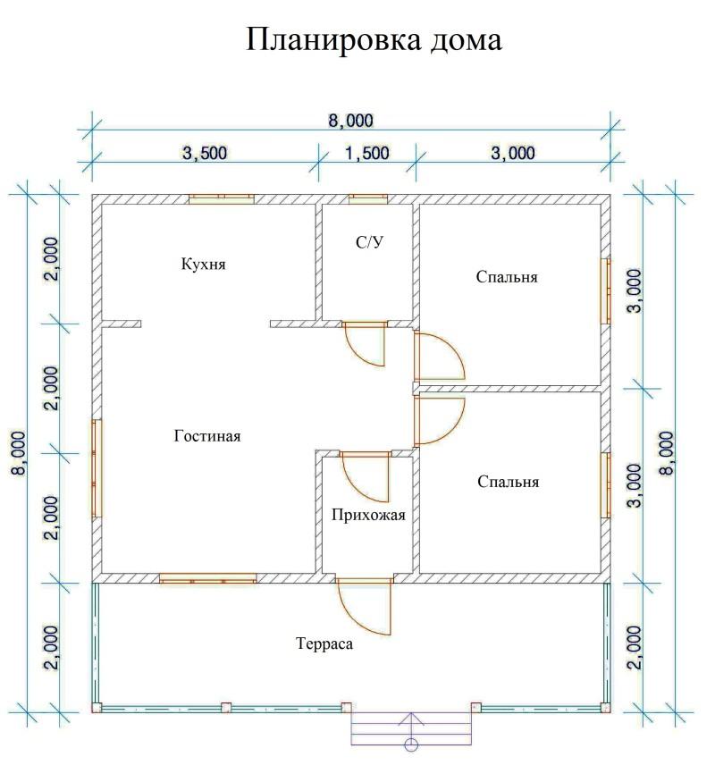 Фото 19: План одноэтажного дома 8x8