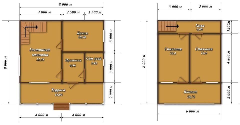 Фото 22: План двухэтажного дома 8x8