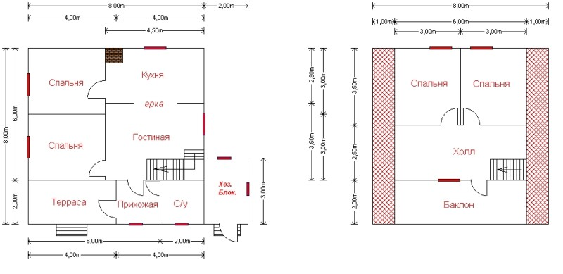 Фото 27: Планировка дома 2 этажа 8x8