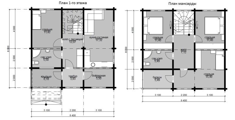 Фото 31: Чертеж дома 8x8 в два этажа