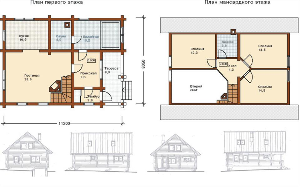 Фото 10: План двухэтажного дома 8x8
