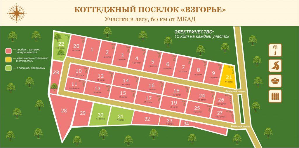 План коттеджного поселка «Взгорье»