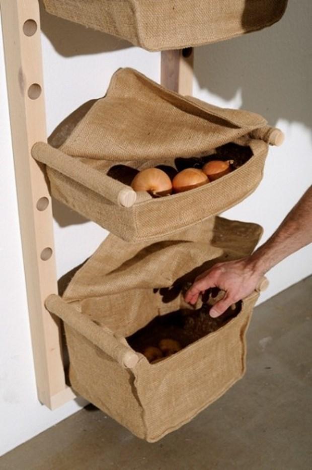 Контейнеры из ткани для хранения овощей