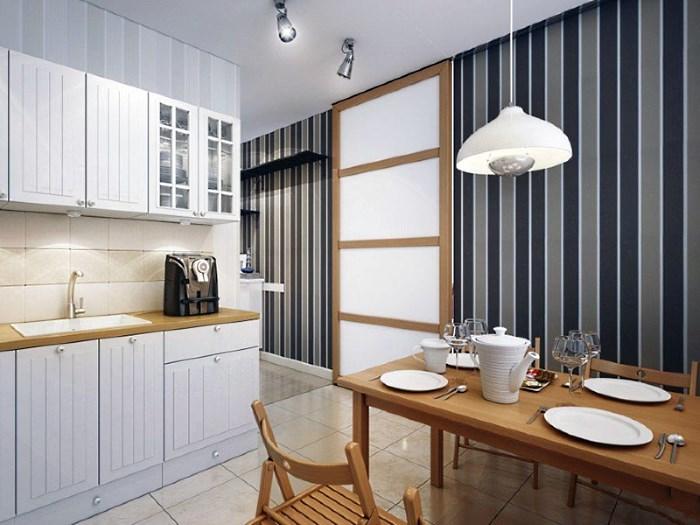 Вертикальная полоска в дизайне маленькой кухни