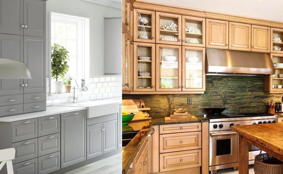 Высокие навесные шкафчики для кухни