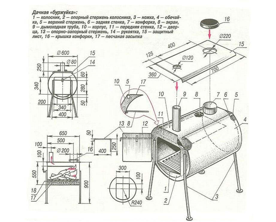 Мангал коптильня из газового баллона чертежи