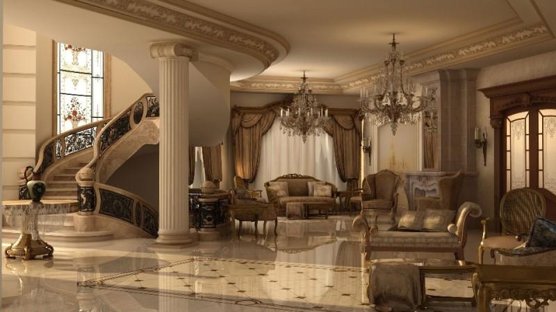 Дворцовый стиль в интерьере гостиной