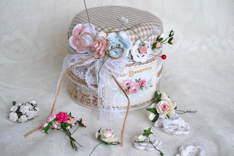 Фото 12: Декорирование коробки тканью