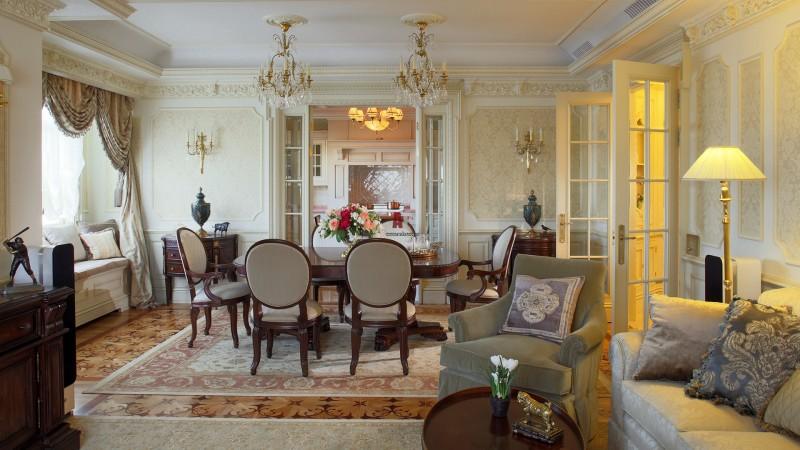 Гостиная в классическом стиле с обеденной зоной