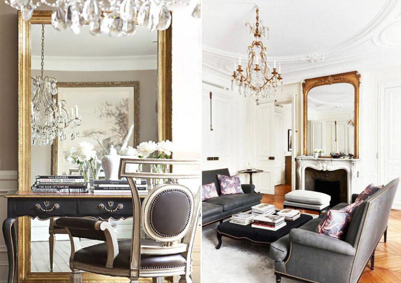 Зеркала в классическом интерьере гостиной