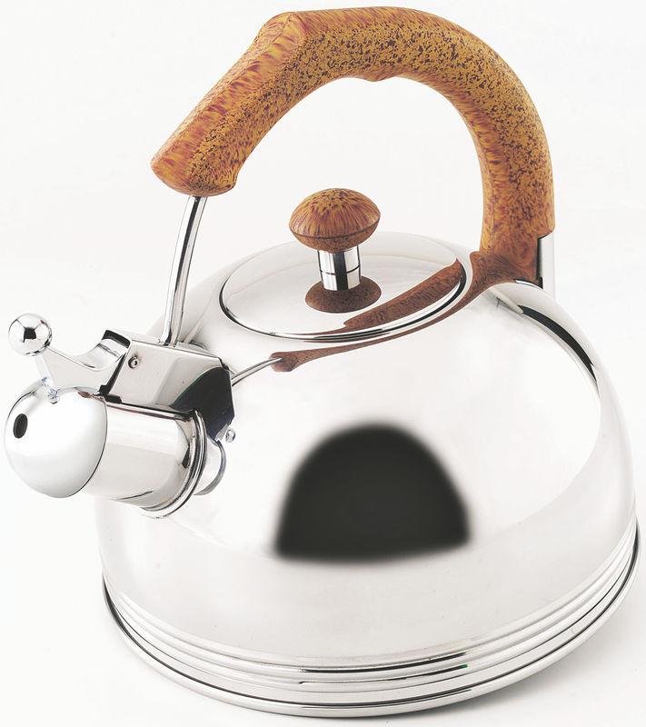 Металлический чайник с ручкой из пробки