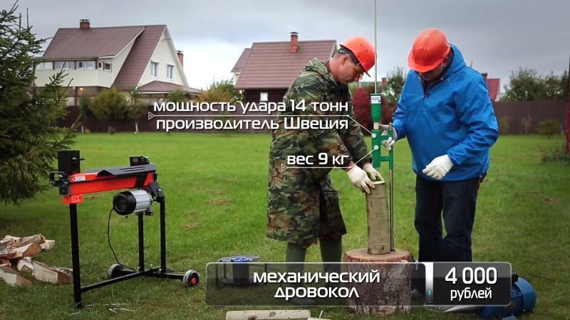 Измерение мощности дровокола в тоннах