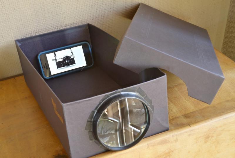 Простой проектор из коробки и лупы