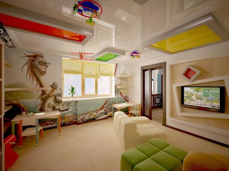 Фото 24: Разноцветный потолок в детской