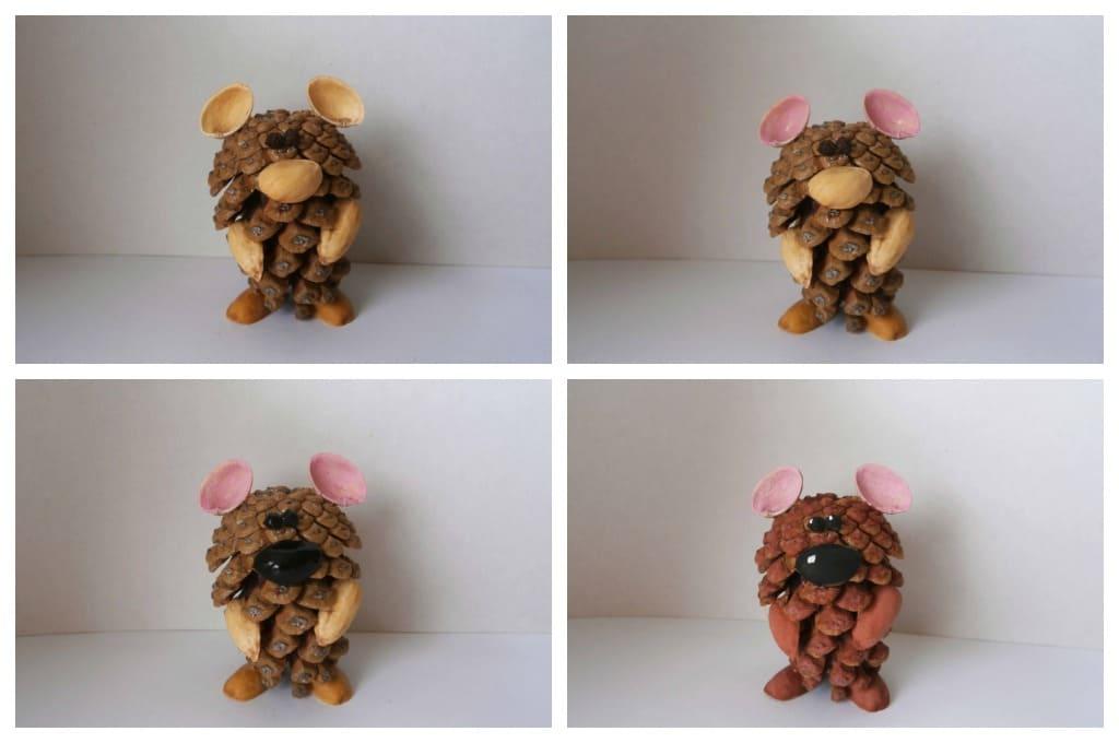 Мишка из шишки и скорлупы