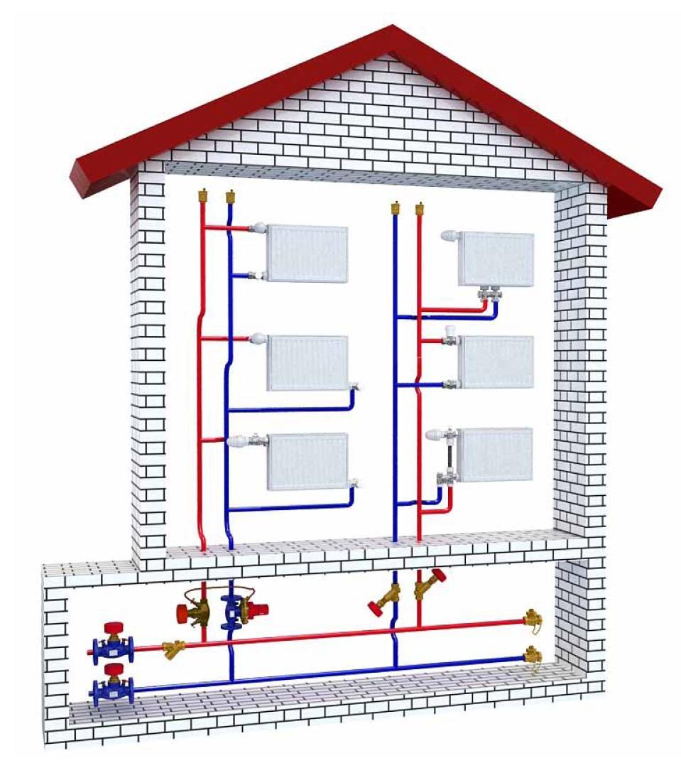 Монтаж-схема отопления двухэтажного дома