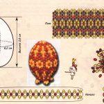 Фото 27: Схема плетения бисером яйца с рисунком цветочками