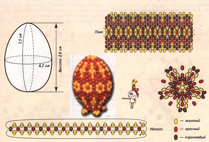 Схема плетения бисером яйца с рисунком цветочками