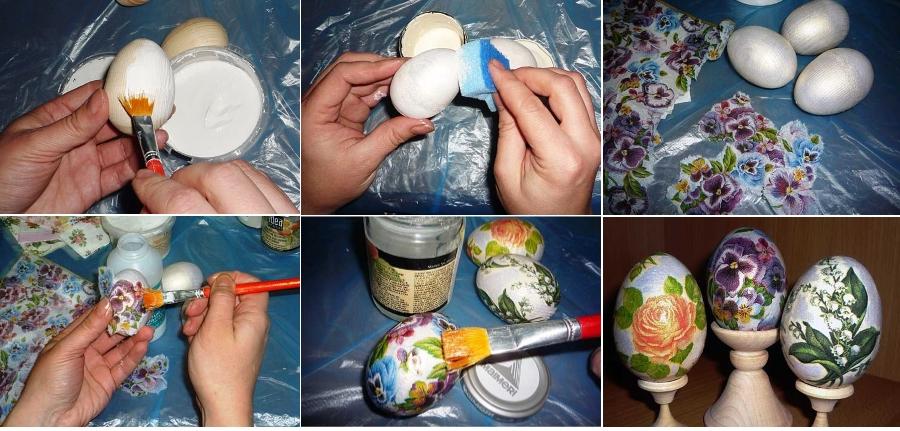 Этапы декупажа деревянных яиц