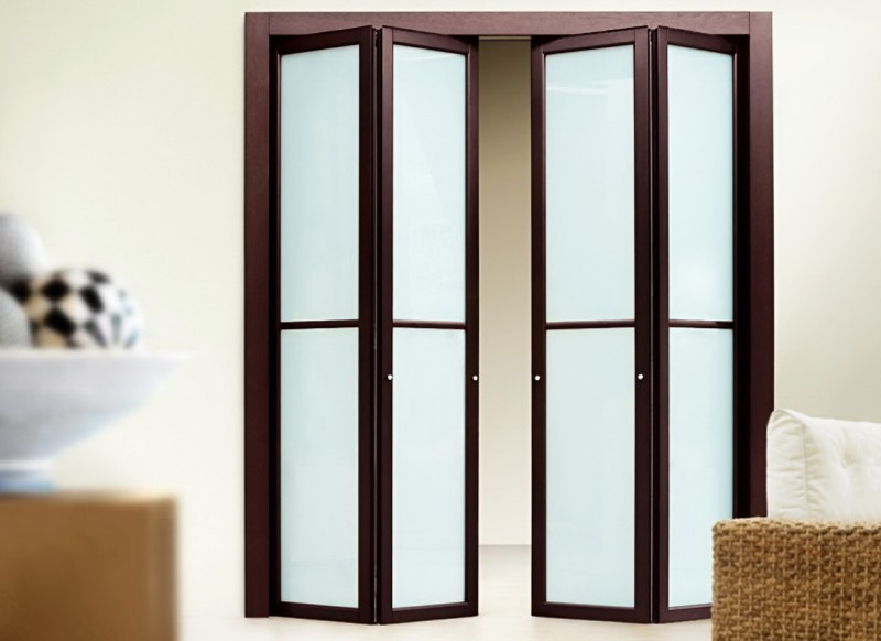 Дверь-книжка из стекла и дерева