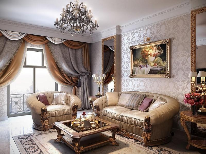 Картины с массивными золотистыми резными багетами в классическом интерьере