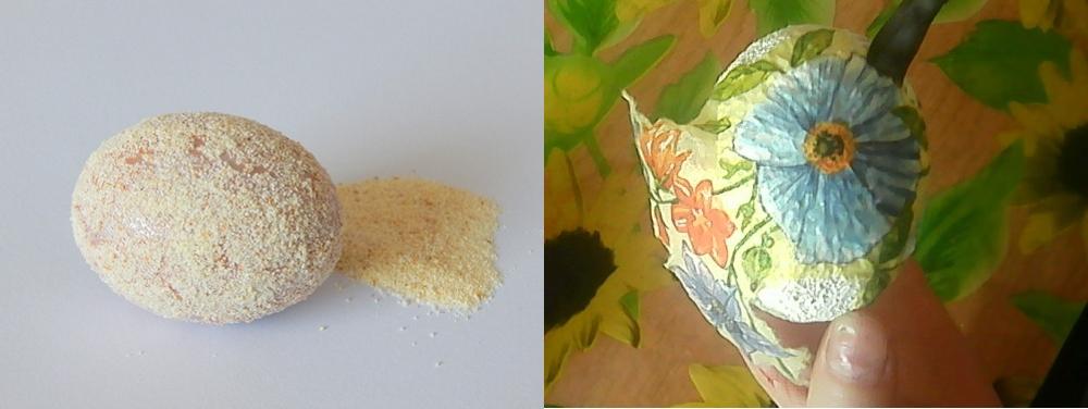 Текстурирование яйца манкой