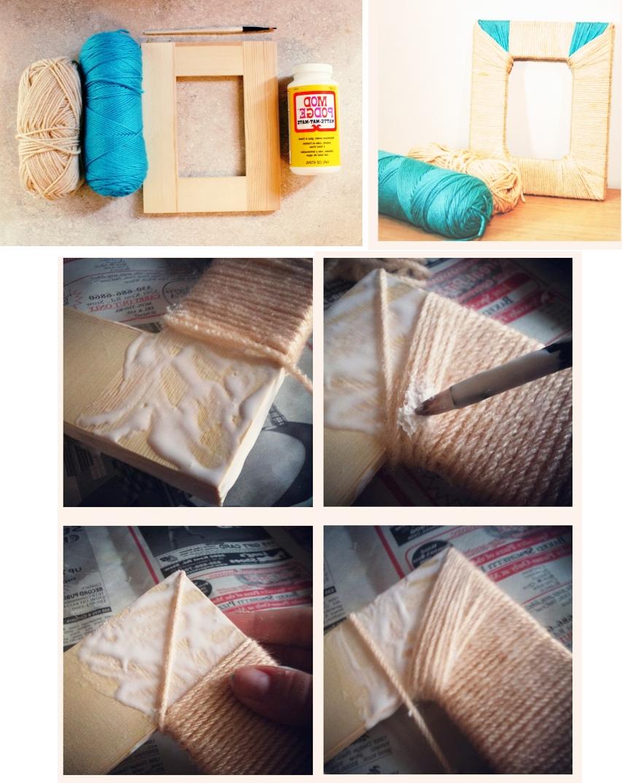 Декор деревянной рамочки с помощью бечевки или пряжи