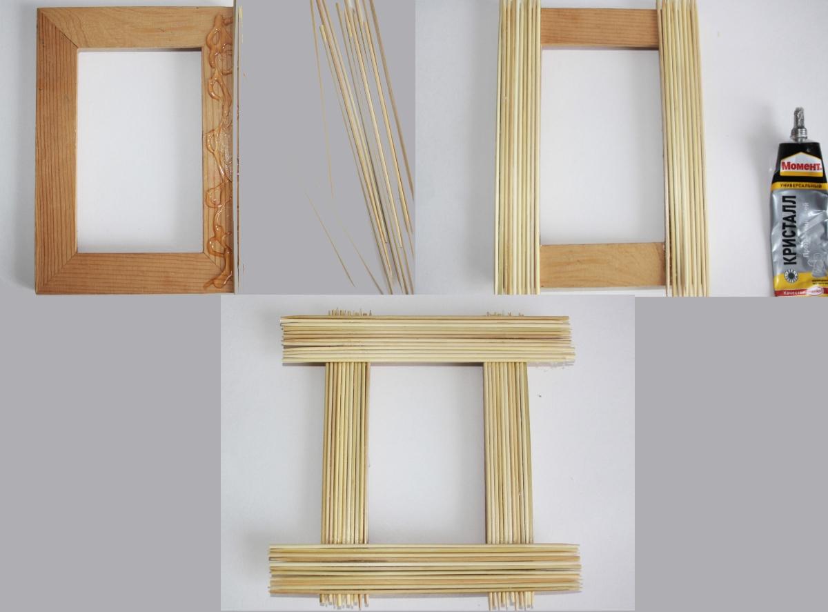 Декор деревянной рамки палочками для суши