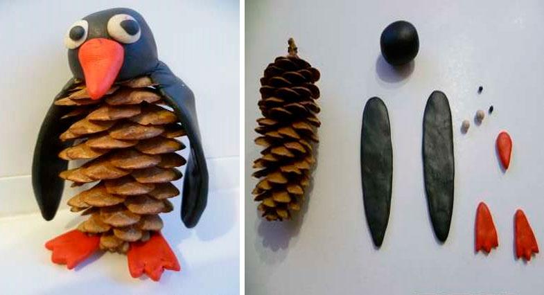 Пингвины из шишек и пластилина