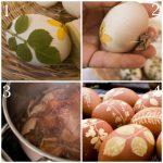 Фото 63: Трафареты на яйцах с помощью растений