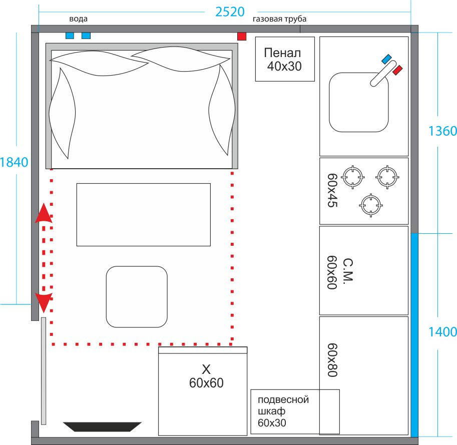 Пример планировки маленькой кухни
