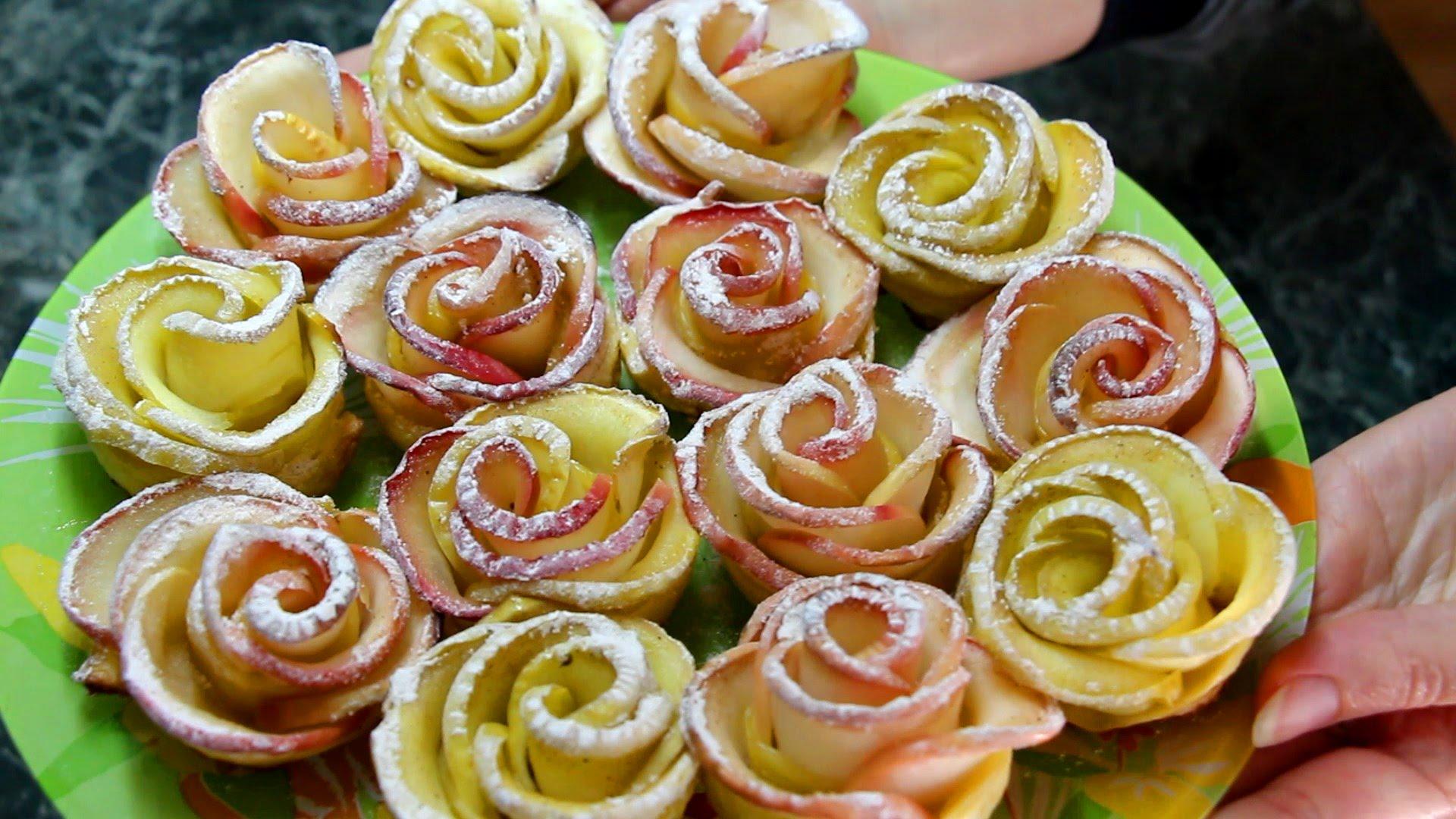 Розы из яблок