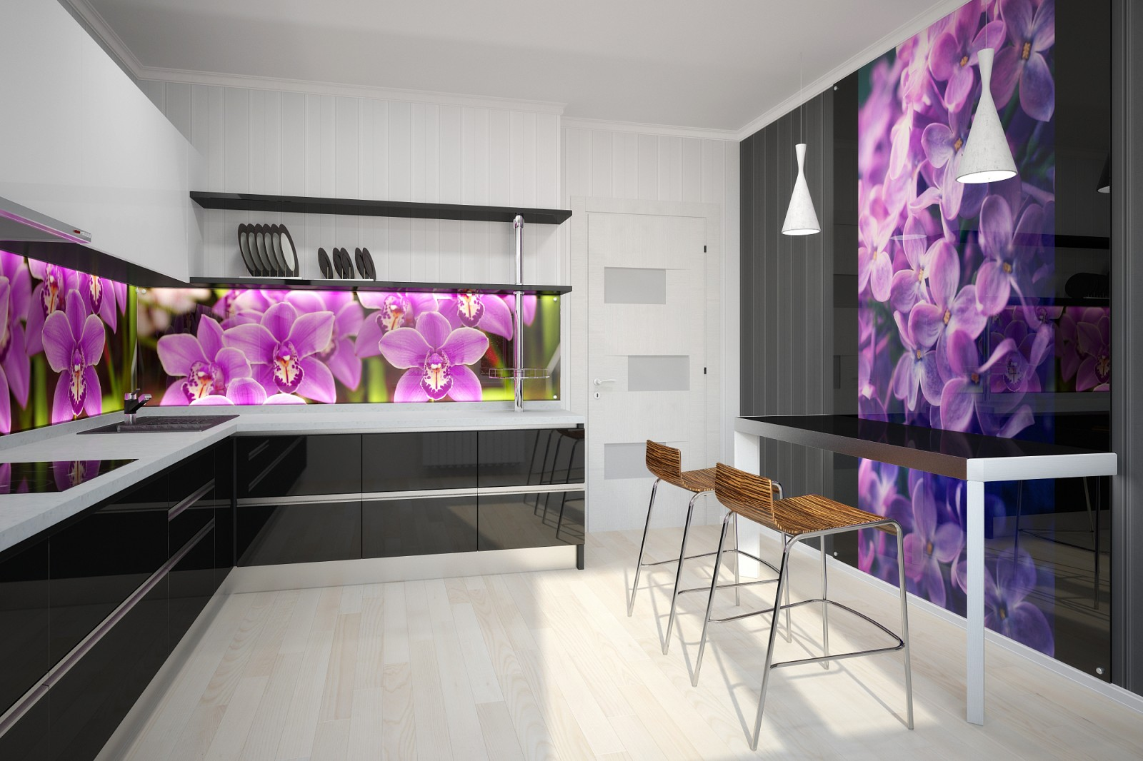 Фиолетовый фартук на кухню