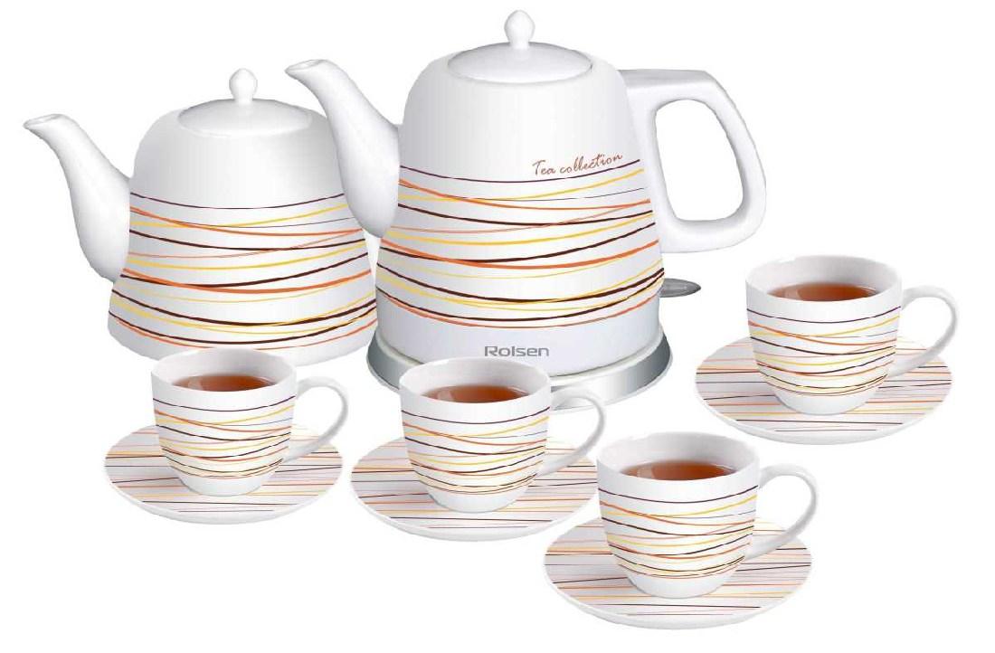 Керамический чайник с чашками