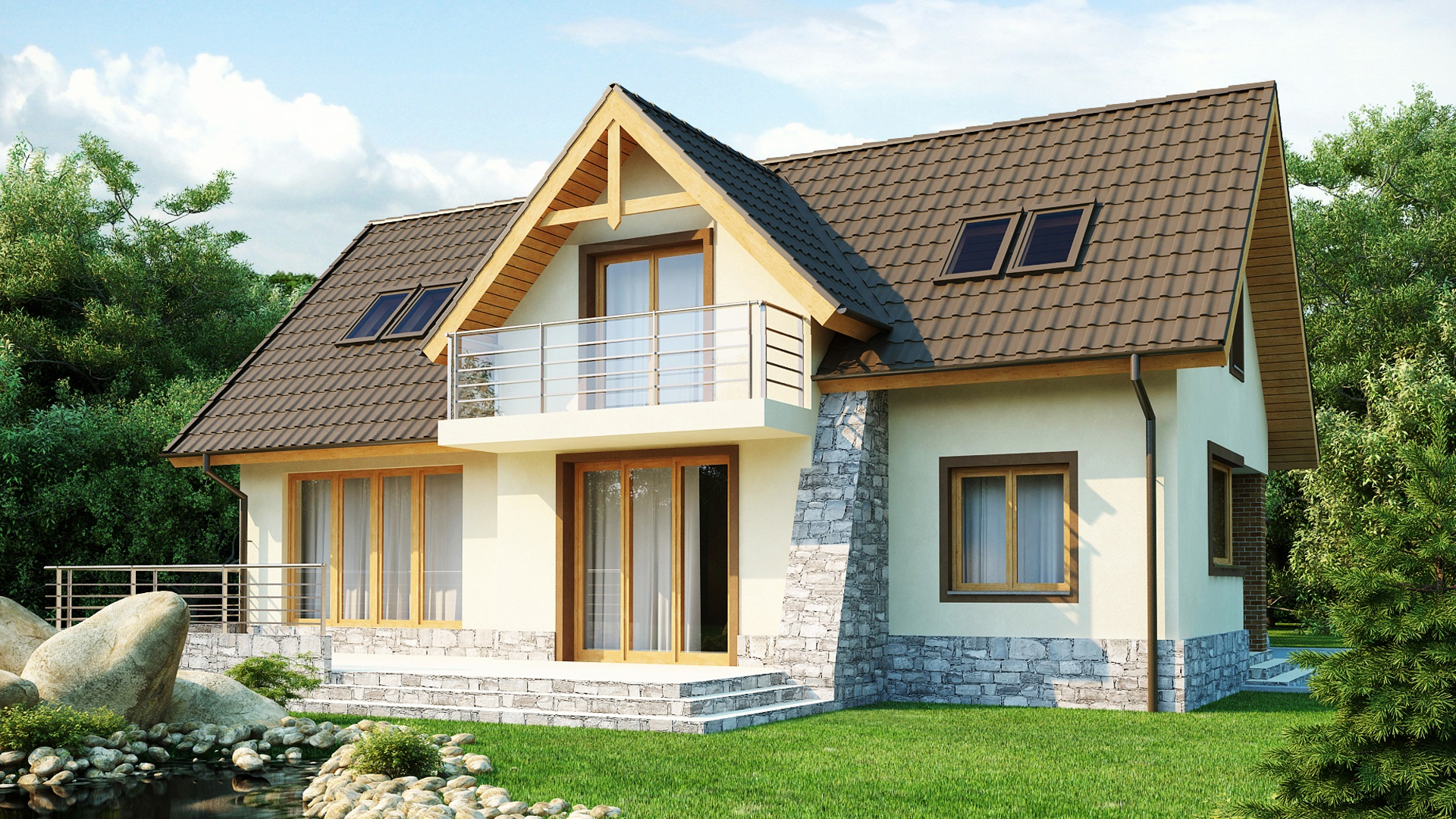 Дом из пеноблока и балконом