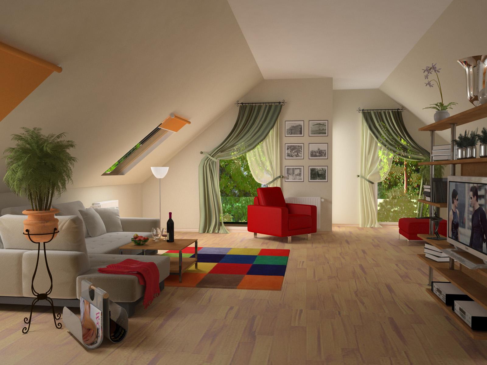 Дизайн мансардной комнаты