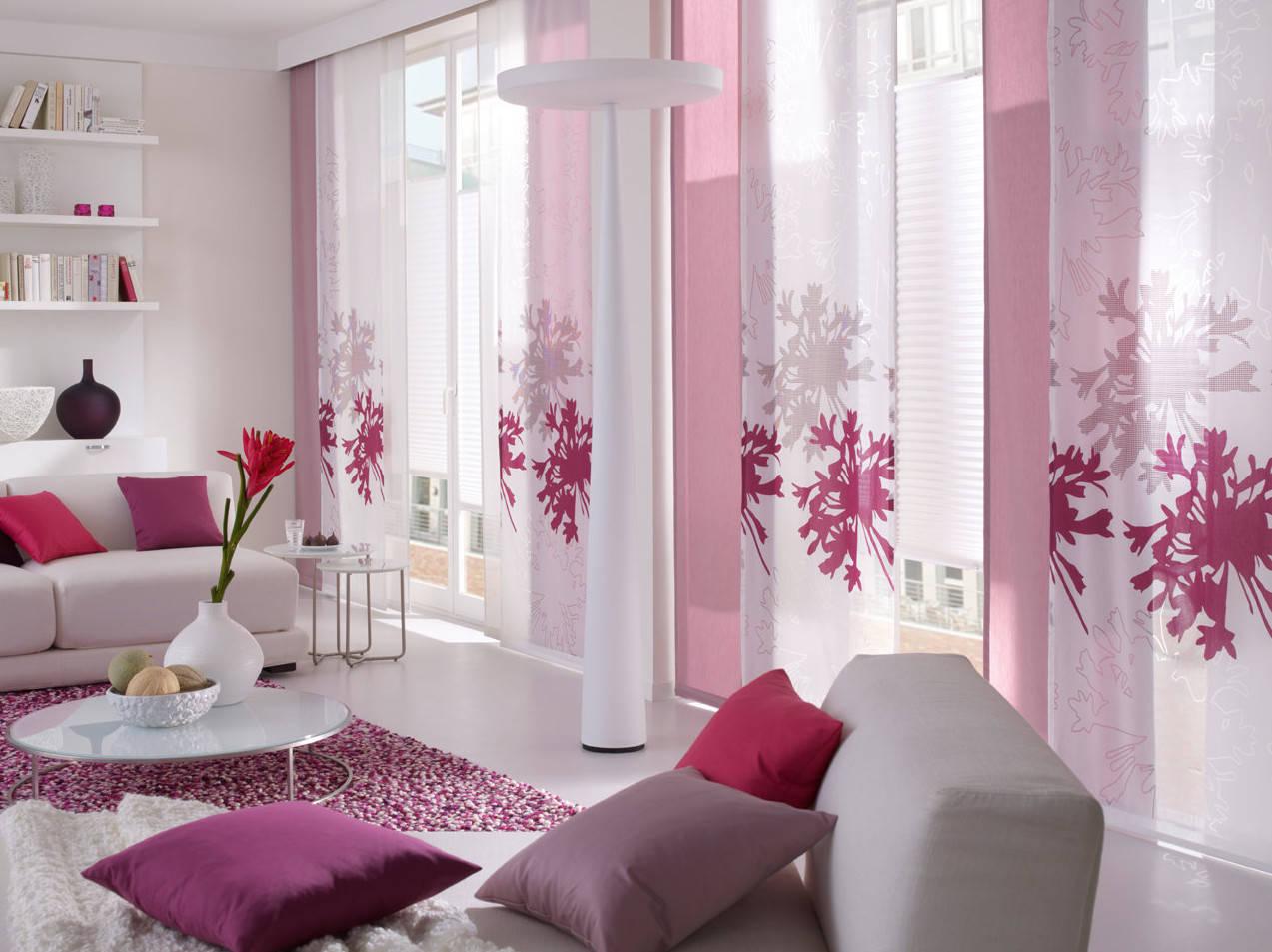 Японские розовые шторы
