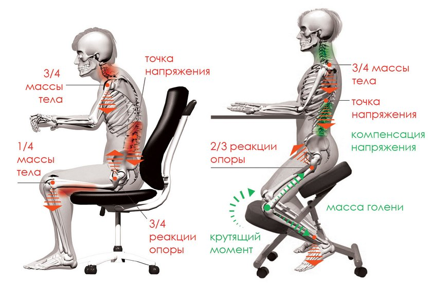 Распределение нагрузки при коленном кресле