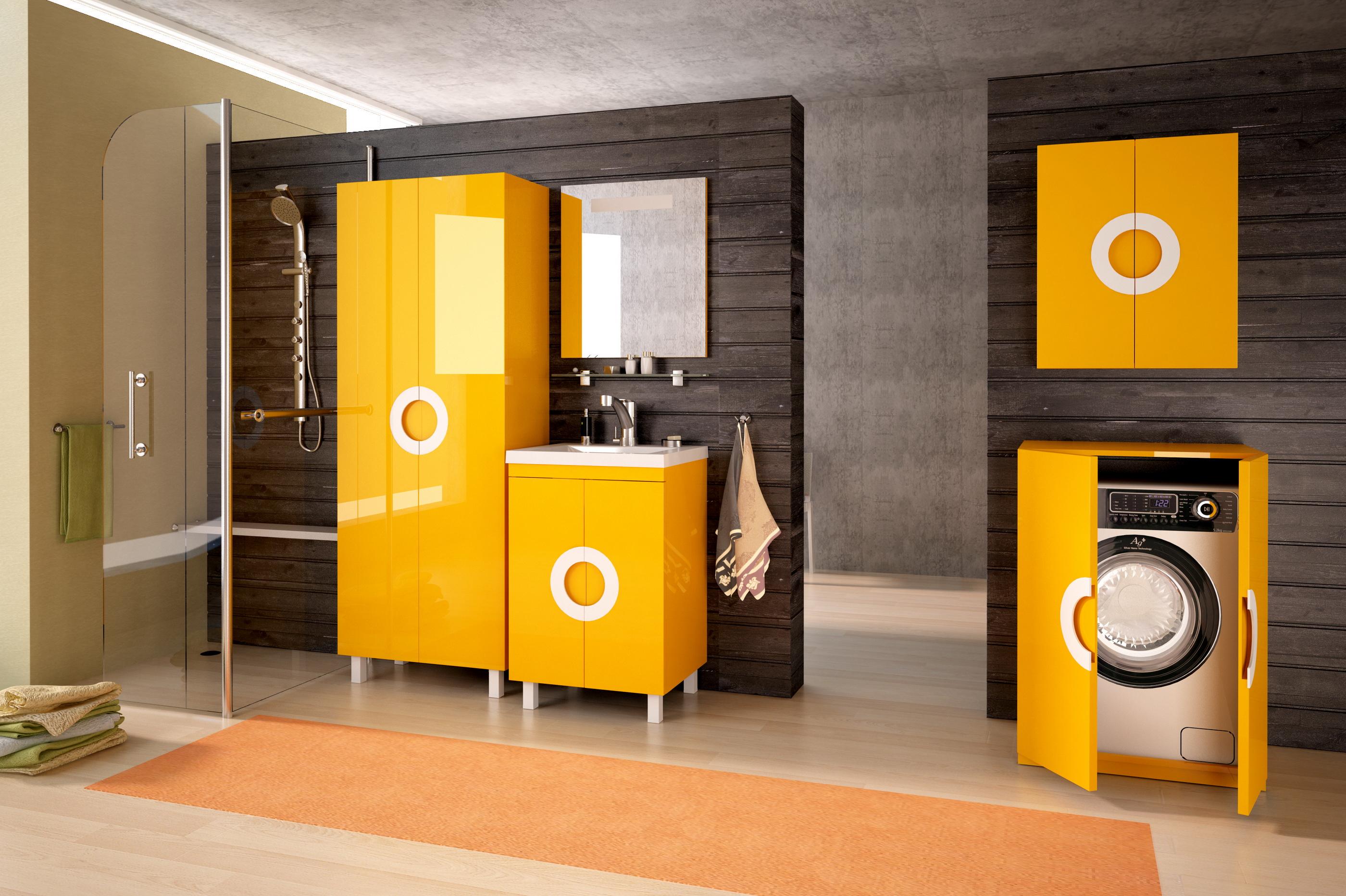 Желтый комплект мебели для ванной