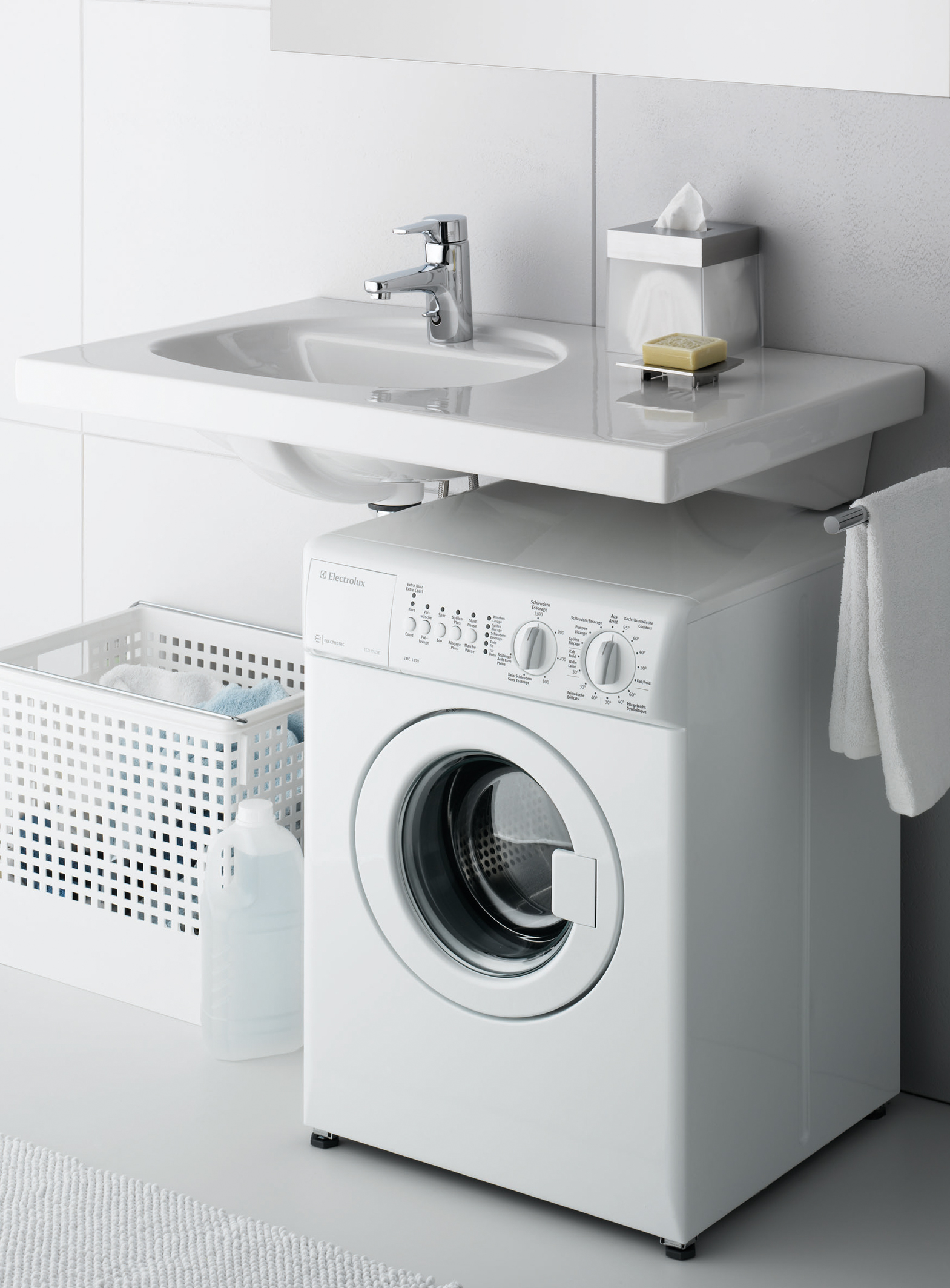 Установка стиральной машины под раковиной