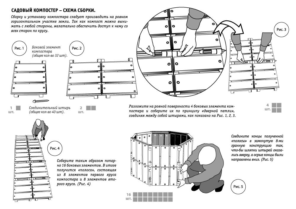 Схема сборки садового компостера, часть 1
