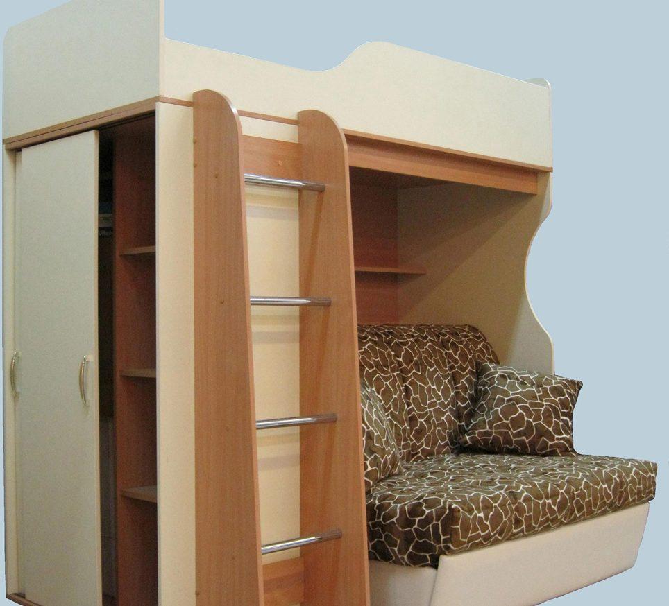 Кровать чердак с диваном внизу для взрослых