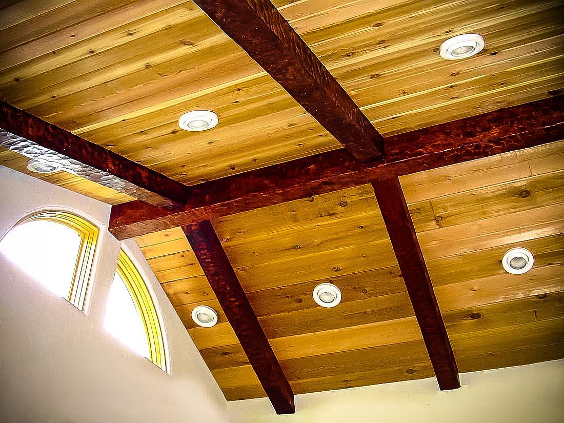 Потолок из имитации бруса своими руками 49