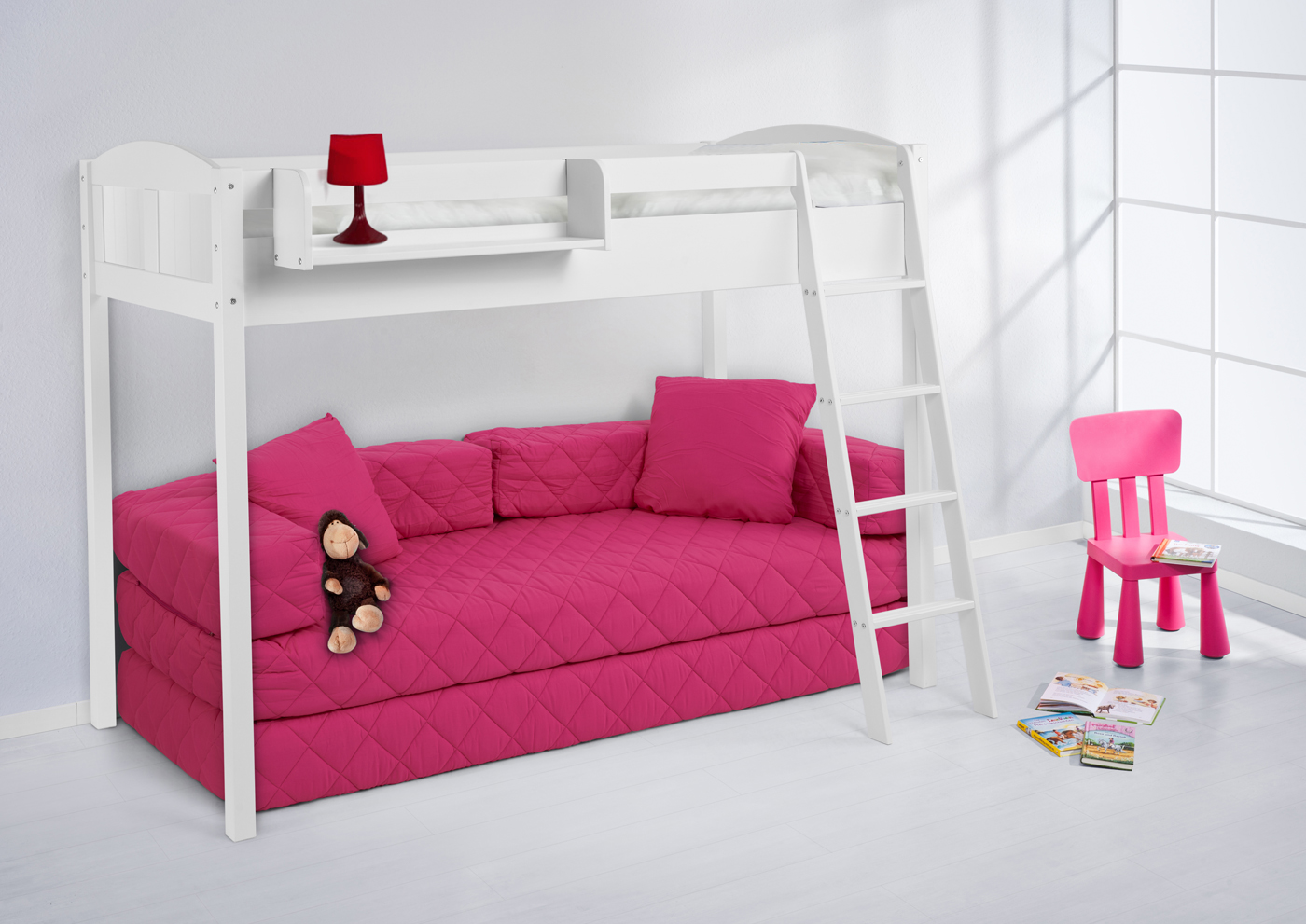 Кровать-чердак с диваном внизу