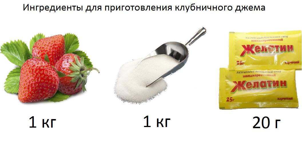 Ингредиенты для приготовления клубничного джема