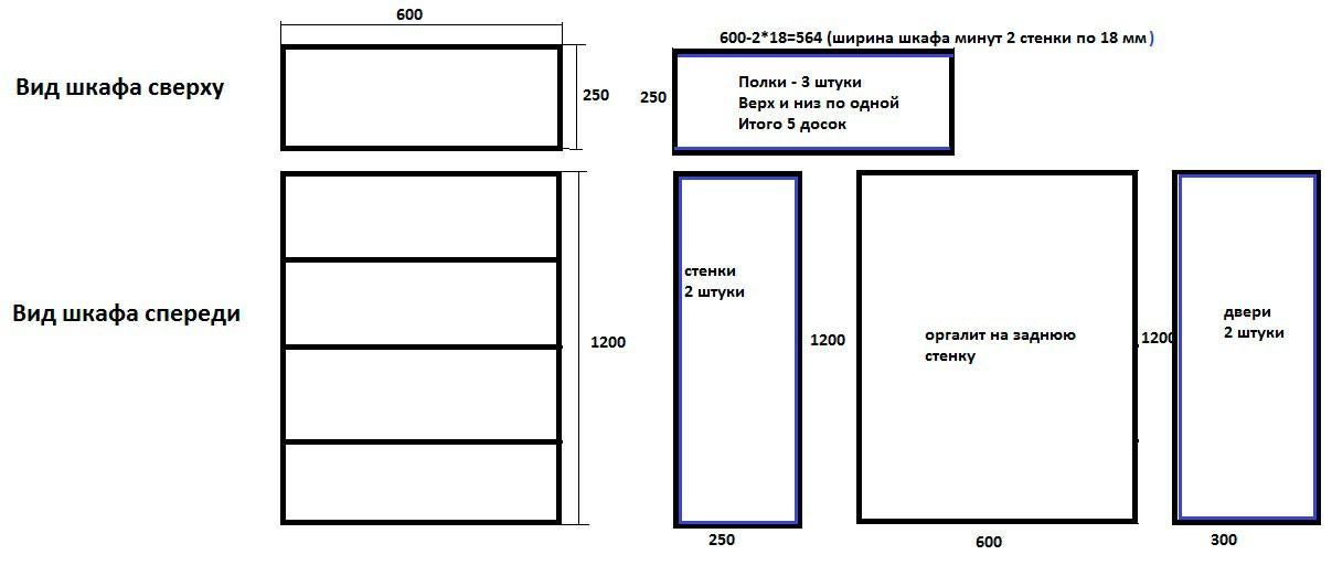 Проект шкафа для балкона