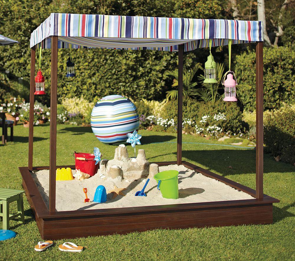 Песочница с навесом для детской площадки своими руками